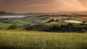 Magnificent Rural Tuscan Landscape Hills Farms Clouds Field Tuscany Italy Desert Photo Hd