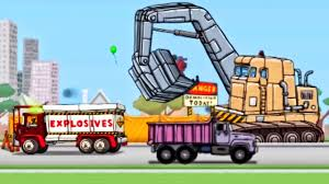 Trucks Cartoon For Toddlers: The Excavator, Explosive Demolition ...