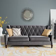 Tufted Velvet Sofa Bed by Furniture Grey Diamond Tufted Velvet Couch Matched With Wall For