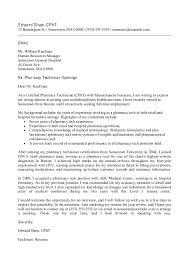 Cover Letter For Pharmacy Tech Graduate