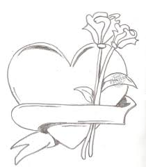 Heart And Rose Drawing