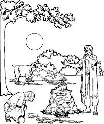 Bible Story The Sacrifice Of Abraham Son Isaac Colouring Page