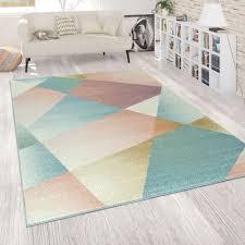 kurzflor teppich abstrakt pastellfarben bunt