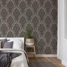 a s création vliestapete new barocktapete mit ornamenten grau schwarz