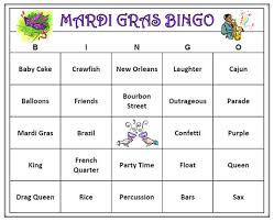 Mardi Gras Party Bingo Game 60 Cards Carnivale Words Very Fun Print And Play