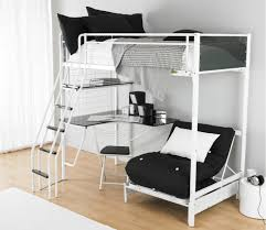 Desk Bunk Bed Combination by White Steel Bunk Bed With Corner Black Desk Combined With Shelf