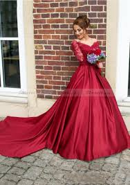 prom dress ball gown v neck cathedral train with lace