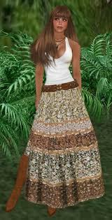 Boho Baku Brown Floral Gypsy Skirt Set