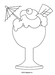 Ice Cream In A Glass Cup Coloring Page