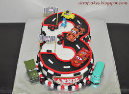 Art Cakes Disney Cars themed number 3 Fondant Cake