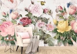 große blumen wallpaper rosa gelb pfingstrosen designer foto wallpaper vintage blumen moderne home decor 3d wandmalereien floral