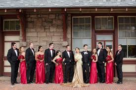 Wedding Party In Black Red And Gold