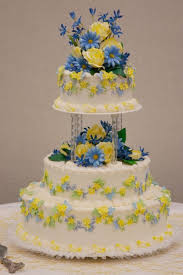Image detail for Mom n Mia Bakery Blue Yellow Wedding Cake
