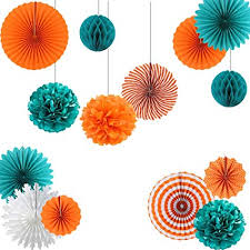 Teal And Tangerine Orange Paper Wheel Fans Pom Poms Balls Flowers For Wedding Birthday Party Decoration