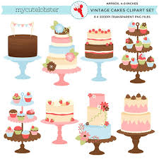 Pretty Vintage Cakes Clipart Set