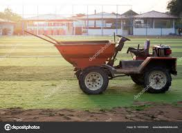 Orange Truck With Tools On Artificial Grass On Soccer Field — Stock ...