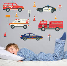 100 Fire Truck Wall Decals Emergency Vehicle EcoFriendly Reusable Fabric Stick