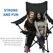 EasyGoProducts Giant Oversized Big Portable Folding Camping Beach Outdoor  Chair With 6 Cup Holders! Fold Compact Into Carry Bag