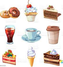 straße café produkte vektorcartoon satz schokolade cupcake kuchen und kaffee stock vektor und mehr bilder alkoholisches getränk