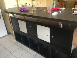 plan de travail ikea cuisine table de bar avec kallax