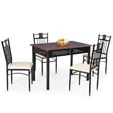 5-Piece Black Brown Dining Set Wood Metal Table Chairs With Cushions 5 Pcs Black Metal Frame Marble Finished Top Ding Table Set 5piece Brown Wood Chairs With Cushions Kitchen Tables Winsome Fniture Iron Woodard Quick Ship Cafe Series Wrought Chair In Textured 39 Blueribbon High Back Wooden Costway Piece Breakfast Cramco Trading Company Starling Round Glass Pub W Only By Inc At Value City Details About Tempered And 36 Natural Laminate Grid Vinyl Seat Seats 4 Ktaxon Leather Chairsglass Room Fnitureblack Small And Design Ideas