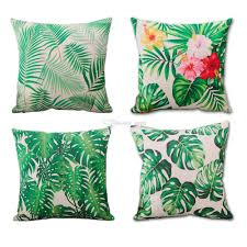 24 X 24 Patio Cushion Covers by Tropical Green Leaf Pattern Cotton Linen Pillow Cases Decorative