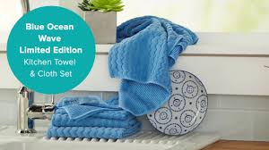 Blue Ocean Wave Limited Edition Kitchen Towel & Cloth Set