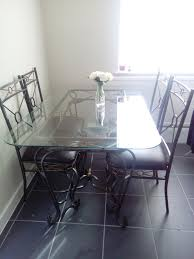 Wrought Iron And Glass Dining Table Chairs In Liverpool