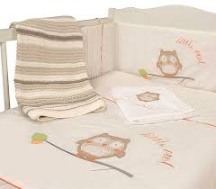 Nursery Owl Baby Bale Bedding Set Striped Reversible Cot Quilt and