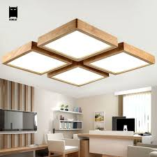 led square oak wood acrylic ceiling light fixture modern nordic