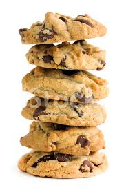Chocolate Chip Cookies Stack Isolated Cut out on White Backgroun