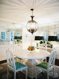 Eclectic Dining Room White Painted Pedestal Table Centerpiece