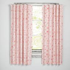 Light Pink Ruffle Blackout Curtains by Go Lightly Grey Floral 63