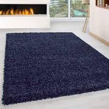 hochflor langflor wohnzimmer shaggy teppich florhöhe 3cm unifarbe navy