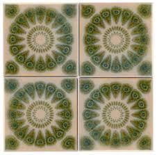 4 mid century modern flower tiles for sale antiques