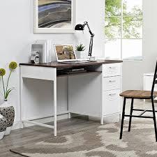 Walker Edison 3 Piece Contemporary Desk by Walker Edison Furniture Company Locker Style 48 In White Metal