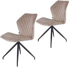 rocky esszimmerstühle 2er set design stuhl mit stoffbezug samt taupe