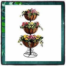 Outdoor Patio Plant Stands by Plant Stand Metal 3 Tier Jardiniere Flowers Outdoor Garden Basket