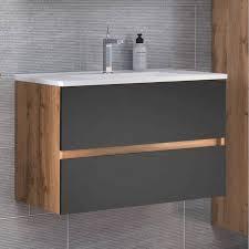 badezimmer waschtisch 80 cm mit waschbecken lourosa 03 in wotaneiche n
