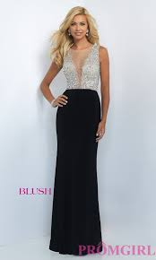 long sheer beaded illusion top prom dress promgirl