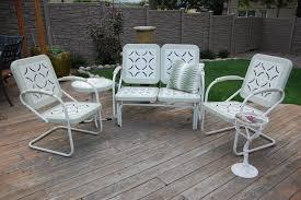 White Metal Patio Furniture Vintage