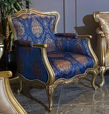 casa padrino luxus barock sessel blau gold 90 x 74 x h 106 cm wohnzimmer sessel mit elegantem muster barock wohnzimmer möbel