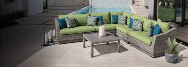 modern outdoor patio pool deck furniture green and teal cushions