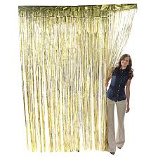 gold metallic fringe curtain party foil tinsel room decor 3 x 8