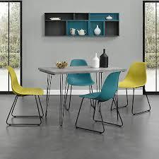 table chair sets en casa esstisch 120x60cm hairpinlegs mit 4 stühlen grau kunststoff tisch home furniture diy itkart org