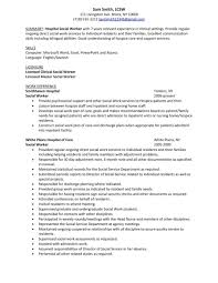 Summary Sample Hospital Social Work Resume Examples Example Volunteer Examp Large Size