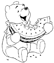 Pooh Watermelon Coloring Pages