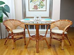 3 Pc Pelangi Rattan Wicker Dining Set Round Table Glass Top 2 Arm Chairs