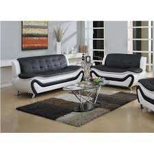 Living Room Furniture Sets Walmart by Frady 2 Pc Black And White Faux Leather Moder Living Room Sofa And