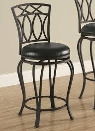 Dining And Bar Stools Chairs Elegant Metal With Black Faux Leather Seat